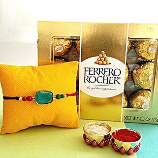 Blue Stone Rakhi Combo: Rakhi & Chocolates USA
