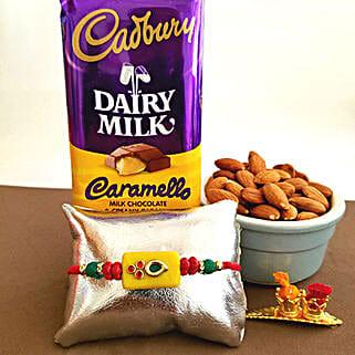 Cadbury Caramello Rakhi Combo: Send Rakhi & Chocolates to USA