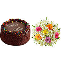 Chocolate Cake with Assorted Rose and Lily Bouquet: Send Birthday Gifts to Allentown