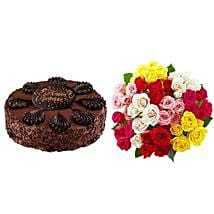 Chocolate Cake with Assorted Roses: Send Gifts to San Jose