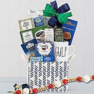 Coffee Tea and Cocoa Gift Basket With Rakhi: Rakhi - Guaranteed Delivery Collection