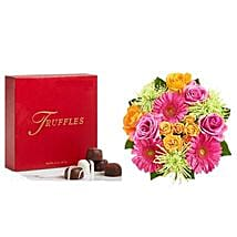 Colorful Bloom with Chocolates: Send Romantics Gifts to USA