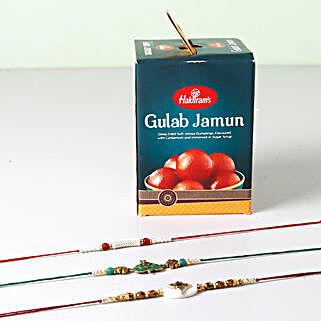 Combo of Gulab Jamun And 3 Opulent Rakhis: Set of 3 Rakhis to USA