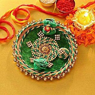 Decorated Green Tikka Thali: Bhai Dooj Gift Delivery in USA