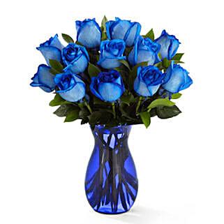 Deep Blue Hue Rose Bouquet: Send Roses to USA