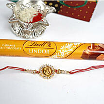 Ek Omkaar Rakhi with Lindt Caramel Bar: Send Rakhi to Plano