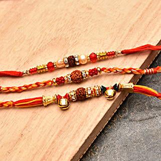 Elegant Rakhi Threads Set of Three: Send Rakhi for Brother to USA