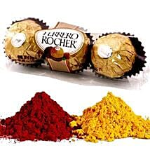 Ferrero Rocher with 2 Shades of Holi Gulal: Holi Presents to USA