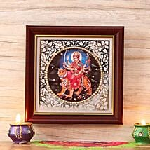 Goddess Durga Wooden Frame: Send Diwali Gifts to USA