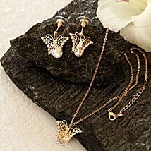 Golden Butterfly Pendant Set: Send Valentine Gifts to Cary