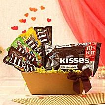 Hersheys Kisses Chocolate N Assorted M and Ms: Gift Basket Delivery in USA