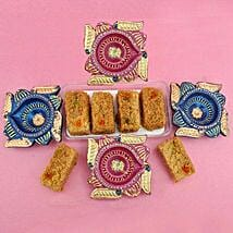 Milk Cake With 4 Diyas: Diwali Gift Delivery in USA