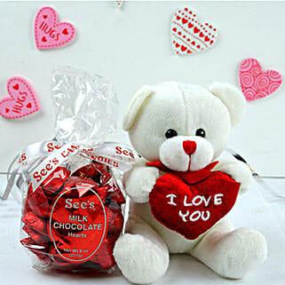 Milk Chocolates With Love Teddy: Send Valentine Gifts to Madison