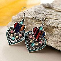 Multicolor Double Heart Earring: Send Valentine Gifts to Kansas City