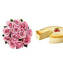 NY Cheescake with Pink Roses: Flowers and Cakes to Houston
