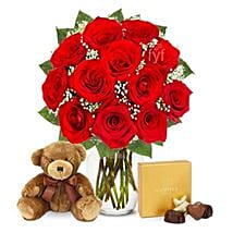 One Dozen Roses with Godiva Chocolates and Bear: Friendship Day Flowers to USA