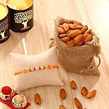 Orange Stone bead Rakhi with Almonds: Rakhi to New York