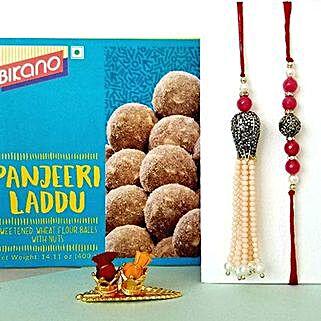 Panjeeri Laddoo And Lumba Rakhi Combo: Rakhi Delivery in USA