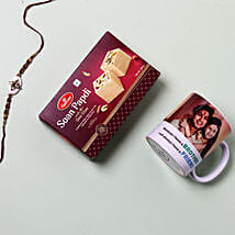 Rakhi With Mug And Soan Papdi: Rakhi and Sweets to USA