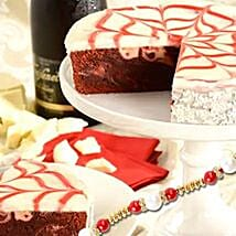 Red Velvet Brownie Cake with rakhi: Send Rakhi to USA