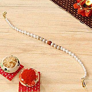 Rudraksh Pearl Beaded Bracelet Rakhi: Send Rakhi for Brother to USA