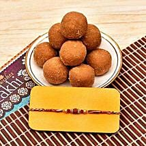 Rudraksh Rakhi With Besan Laddoo: Rakhi to Plano