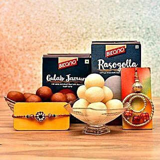Set Of Lumba Rakhi And Sweets Combo: Rakhi for Bhaiya Bhabhi to USA