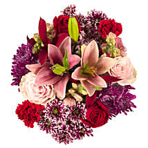 Shades Of Pink Red Purple Bouquet: Valentine Flowers to USA