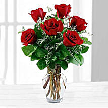 Six Red Roses In A Vase: New York Gifts