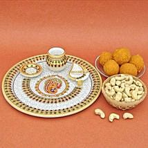 Sweets N Dry Fruits In Marble Thali: Send Diwali Gifts to USA