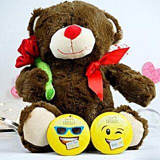 Teddy With Rose N Lindt Chocolates: Send Birthday Chocolates to USA