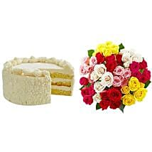 Vanilla Cake with Assorted Roses: Send Gifts to San Jose