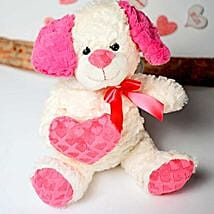 White n Pink Puppy Soft Toy: Valentine's Day Gift Delivery in Columbus
