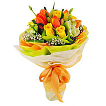Orange Tulips And Yellow Roses Bouquet: Send Gifts to Vietnam