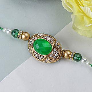Green Emerald Stone Rakhi WES: Rakhi Gifts to West Indies
